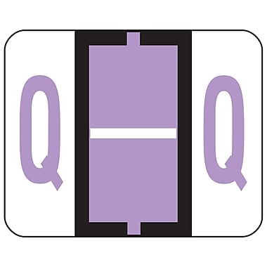 Smead® BCCR Bar-Style Color-Coded Alphabetic Label, Q, Label Roll, Lavender, 500 labels per Roll, (67087)