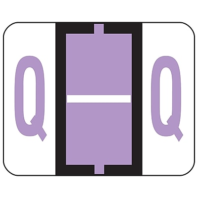 Smead BCCR Bar-Style Color-Coded Alphabetic Label, Q, Label Roll, Lavender, 500 labels/Roll, (67087)