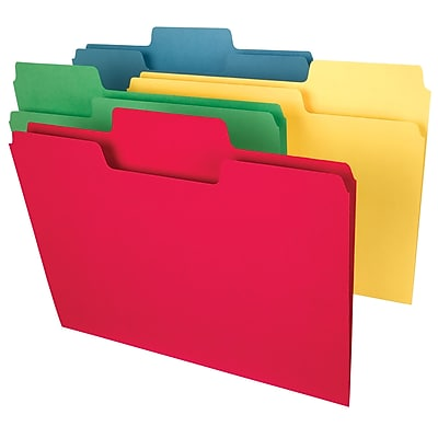 Smead SuperTab Heavyweight Oversized 3-Tab Colored File Folders, Letter, Assorted, 50/Bx (10410)