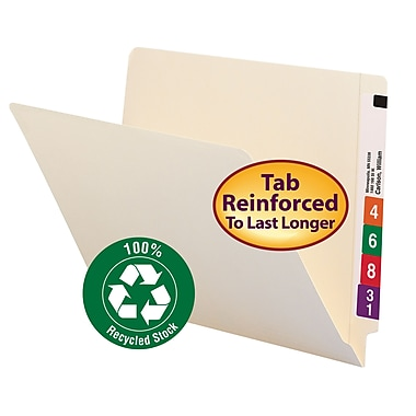 Smead® End Tab 100% Recycled File Folder, Shelf-Master® Reinforced Straight-Cut Tab, Letter Size, Manila, 100/Box (24160)