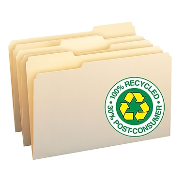 Smead® File Folder 100% Recycled, 1/3-Cut Tab, Legal Size Manila, 100/Box (15339)