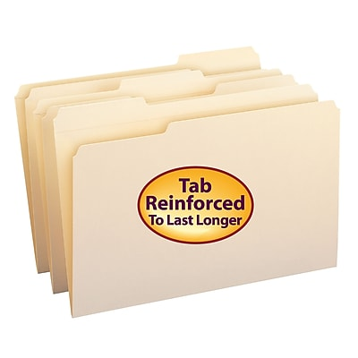 Smead Reinforced 3-Tab File Folders, Legal, Manila, 100/Bx (15334)