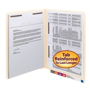 Smead® End Tab Fastener File Folder, Shelf-Master® Reinforced Straight-Cut Tab, 2 Fasteners, Letter, Manila, 50/Box (34120)
