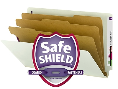 Smead EndTab Pressboard Classification Folder w/SafeSHIELD Fasteners, 3 Divider, 3