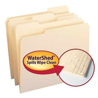 Smead WaterShed File Folder, Reinforced 1/3-Cut Tab, Letter Size, Manila, 100/Box (10314)