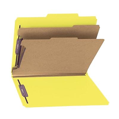 Smead Pressboard Classification Folder SafeSHIELD Fasteners, Six-Section, Letter Size, Yellow, 10/Box (14034)