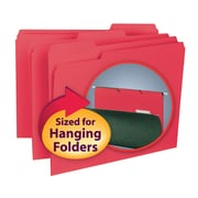 Smead® Interior File Folder, 1/3-Cut Tab, Letter Size, Red, 100/Box (10267)