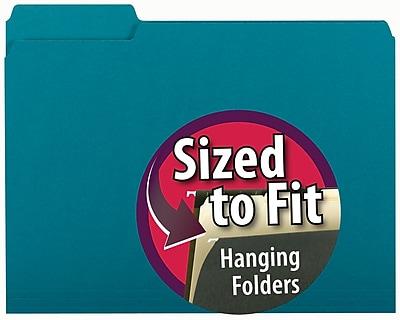 Smead® Interior File Folder, 1/3-Cut Tab, Letter Size, Teal, 100/Box (10291)