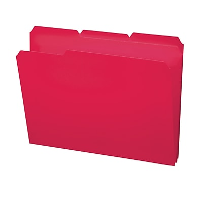 Smead 3-Tab Poly Colored File Folders, Letter, Red, 24/Bx (10501)