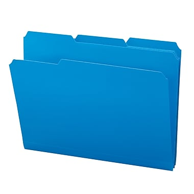 Smead® Poly File Folder, 1/3-Cut- Tab Letter Size, Blue, 24/Box (10503)