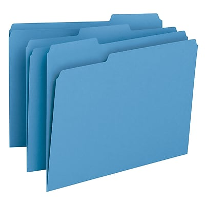Smead 3-Tab Colored File Folders, Letter, Blue, 100/Bx (12043)