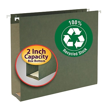Smead® 100% Recycled Hanging Box Bottom File Folder, 2