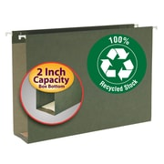"Smead® 100% Recycled Hanging Box Bottom File Folder, 2"" Expansion, Legal Size, Standard Green, 25/Box (65095)"