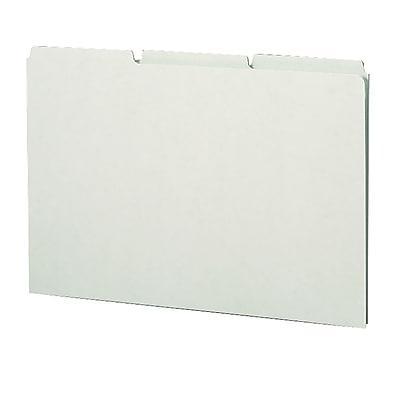 Smead® Pressboard Guides, Plain 1/3-Cut Tab (Blank), Legal Size, Gray/Green, 50/Box (52334)
