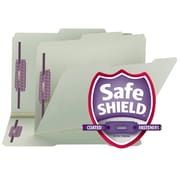 Smead® Expanding Recycled Pressboard Folders With SafeSHIELD  Coated Fasteners, Legal, Gray-Green, 25/Box (19980)