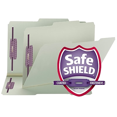 Smead Expanding Recycled Pressboard Folders With SafeSHIELD Coated Fasteners, Legal, Gray-Green, 25/Box (19980)