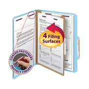 "Smead Pressboard Classification File Folder with SafeSHIELD Fasteners, 1 Divider, 2"" Exp., Letter, Blue, 10/Box (13730)"
