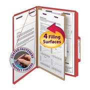 """Smead® Pressboard Classification File Folder with SafeSHIELD® Fasteners, 1 Divider, 2"""" Exp., Legal, Bright Red, 10/Box (18731)"""