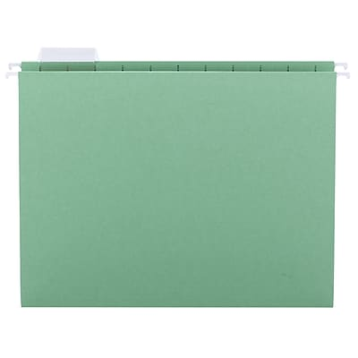 Smead Adjustable 5-Tab Colored Hanging File Folders, Letter, Green, 25/Bx (64061)
