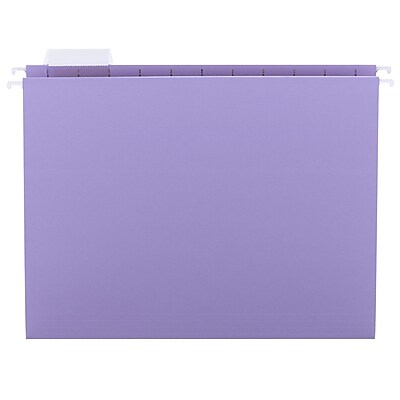 Smead® Hanging File Folder with Tab, 1/5- Cut Adjustable Tab, Letter Size, Lavender, 25/Box (64064)