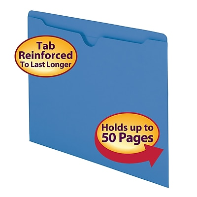 Smead Reinforced Straight Cut Colored File Jackets, Flat, Letter, Blue, 100/Bx (75502)
