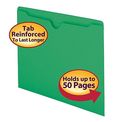 Smead Reinforced Straight Cut Colored File Jackets, Flat, Letter, Green, 100/Bx (75503)