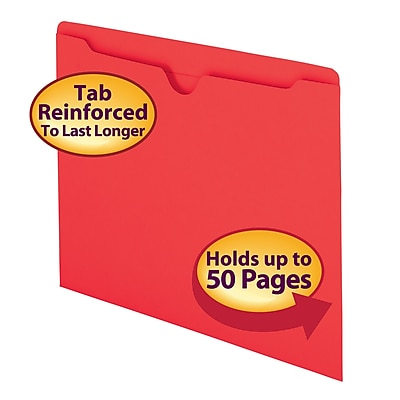 Smead Reinforced Straight Cut Colored File Jackets, Flat, Letter, Red, 100/Bx (75509)