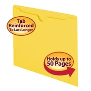 Smead® File Jacket, Reinforced Straight-Cut Tab, Flat-No Expansion, Letter Size, Yellow, 100/Box (75511)