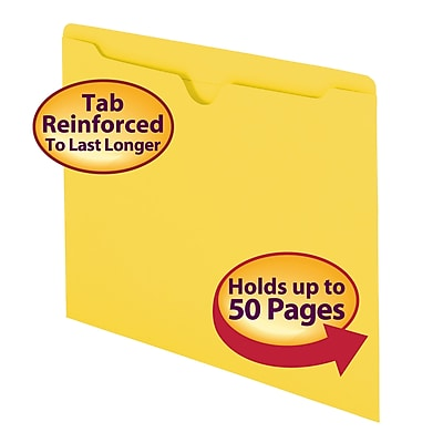 Smead File Jacket, Reinforced Straight-Cut Tab, Flat-No Expansion, Letter Size, Yellow, 100/Box (75511)
