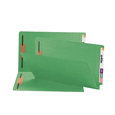 Smead® End Tab Fastener File Folder, Shelf-Master® Reinforced Straight-Cut Tab, 2 Fasteners, Legal, Green, 50/Box (28140)