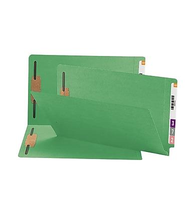 Smead End Tab Fastener File Folder, Shelf-Master Reinforced Straight-Cut Tab, 2 Fasteners, Legal, Green, 50/Box (28140)