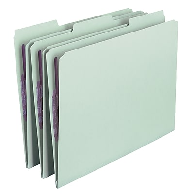 Smead Pressboard File Folder with SafeSHIELD Fasteners, 1/3-Cut Tab, 1