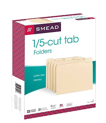 Smead File Folder, 1/5-Cut Tab, Letter Size, Manila, 100/Box (10350)