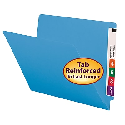 Smead Colored End Tab File Folder, Shelf-Master Reinforced Straight-Cut Tab, Letter Size, Blue, 100/Box (25010)