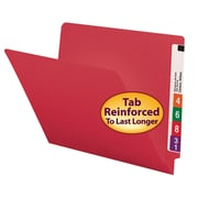 Smead® Colored End Tab File Folder, Shelf-Master® Reinforced Straight-Cut Tab, Letter Size, Red, 100/Box (25710)