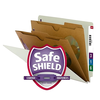 Smead End Tab Classification File Folder with SafeSHIELD Fasteners, 2 Pocket Divider, Letter Size, Gray/Green, 10/Box (26710)