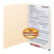 Smead® End Tab Fastener File Folder, Shelf-Master® Reinforced Straight-Cut Tab, 1 Fastener, Legal, Manila, 50/Box (37110)