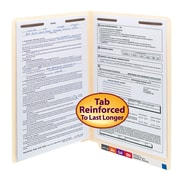 Smead® End Tab Fastener File Folder, Shelf-Master® Reinforced Straight-Cut Tab, 2 Fasteners, Legal, Manila, 50/Box (37115)