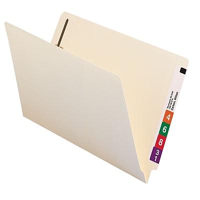 Smead End Tab Fastener File Folder, Shelf-Master Reinforced Straight-Cut Tab, 2 Fasteners, Legal, Manila, 50/Box (37115)