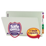 Smead® End Tab Pressboard Fastener File Folder with SafeSHIELD® Fastener, Legal, Gray/Green, 25/Box (37705)