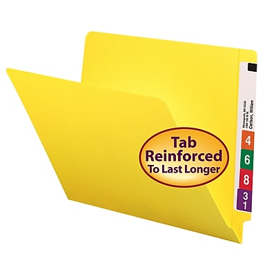 Smead Shelf-Master Reinforced End-Tab Colored File Folders, Letter, Yellow, 100/Bx (25910)