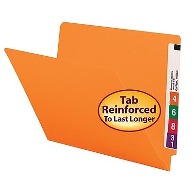 Smead Colored End Tab File Folder, Shelf-Master Reinforced Straight-Cut Tab, Letter Size, Orange, 100/Box (25510)