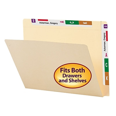 Smead Conversion File Folder Top and End Tab, Letter Size, Manila, 100/Box (24190)