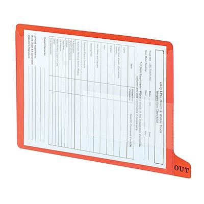Smead End-Tab Poly Out Guides, 2 Pocket Style, Bottom Position Tab, Letter, Red, 25/Bx (61950)