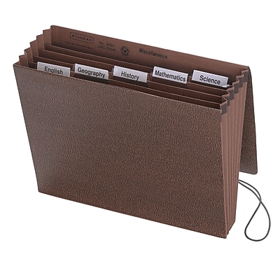 Smead Subject Expanding File, 6 Pockets, Flap & Elastic Cord Closure, Letter, Redrope-Printed Stock (70540)