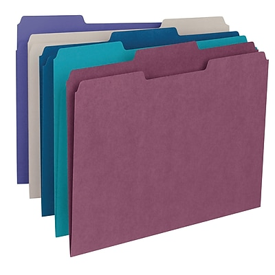 Smead 3-Tab Colored File Folders, Letter, Assorted, 100/Bx, (11948)
