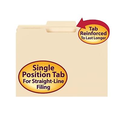Smead Reinforced 3-Tab File Folders, Center Position, Letter, Manila, 100/Bx (10336)