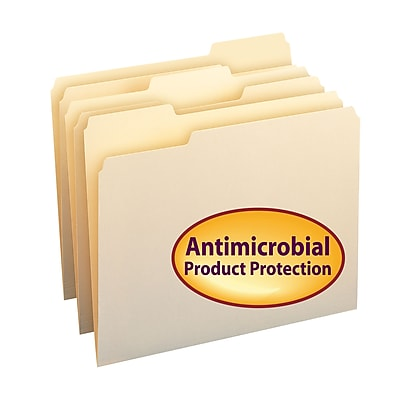 Smead File Folder with Antimicrobial Product Protection, 1/3-Cut Tab, Letter Size, Manila, 100/Box (10338)