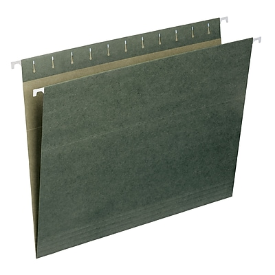Smead® Standard Green Hanging File Folders, Without Tabs, Letter Size