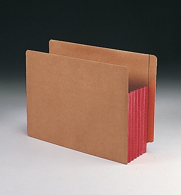 Smead Redrope Drop-Front End Tab File Pockets with Colored Tyvek Gussets, Red, Letter, 10/Box (73696)